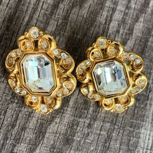 Vintage gold and silver clip on earrings